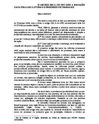 Trab - Artigo 285a Pela Lei 11277 De 2006