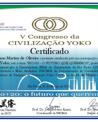 Certificado Yoko.rio+20