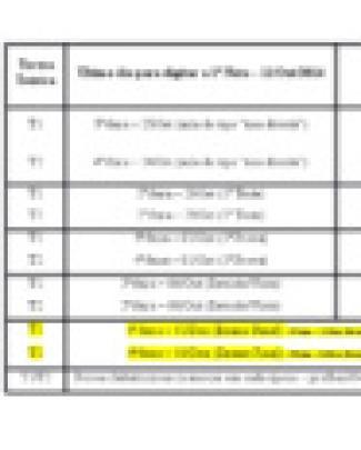 00 Datas Das Provas Bac014 2 Semestre 2014 T1 T2