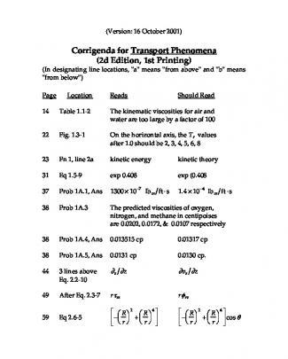 Fenomenos De Transporte - Em Inglês - Bird - Bsl - Errata - 10-16-01