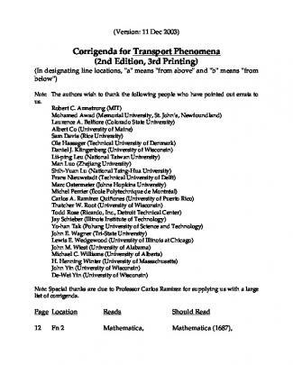 Fenomenos De Transpo...e - Em Inglês - Bird - Errata Bsl - Ii 3 Ptg 11 Dec