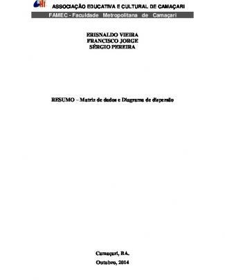 Resumo – Matriz De Dados E Diagrama De Dispersão