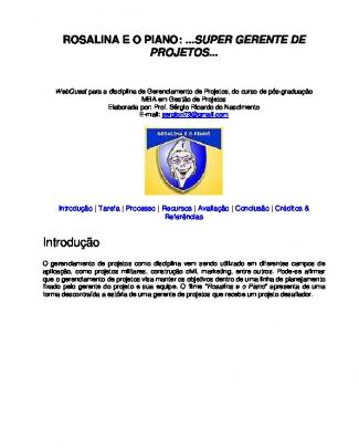 Webquest Pos240 - Gerenciamento De Projetos