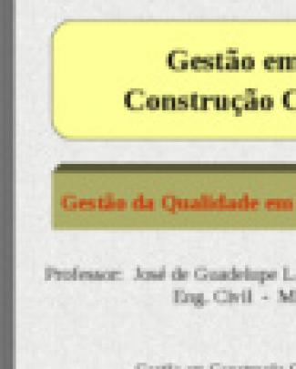 Gestão Em Construção Civil - Apresentação