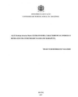 Açaí (euterpe Oleracea Mart) : Extrativismo, Características, Energia E Renda Em...