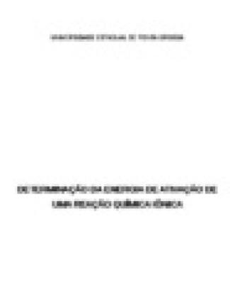 Determinação Da Energia De Ativação De Uma Reação Química Iônica