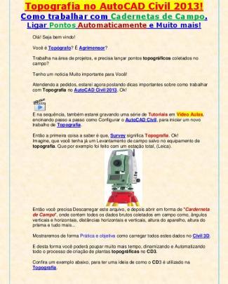 Curso De Topografia No Autocad Civil 2013!