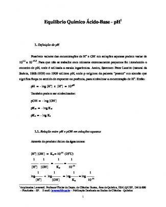 Teoria Sobre Equilíbrio Químico ácido-base - Ph
