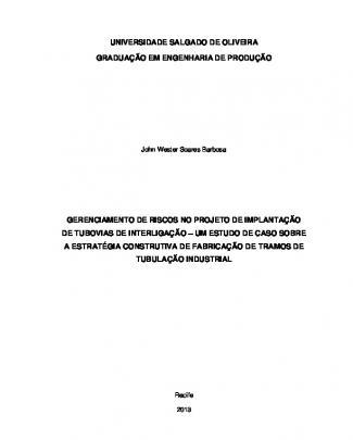 Gerenciamento De Riscos No Projeto De Implantação De Tubovias De Interligação -...