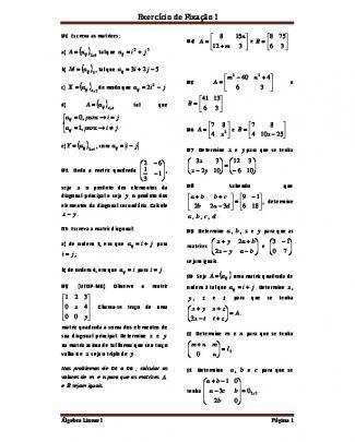 Exercício De Fixação - Algebra Linear