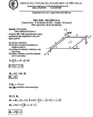 Curso De Mecânica A - Usp - P1 2001
