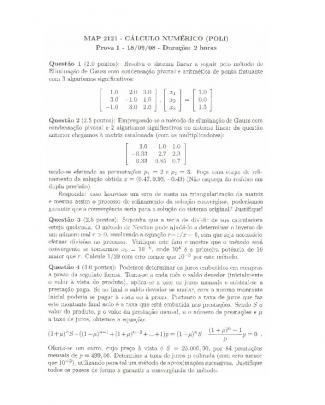 P1 Cálculo Numérico 2008 Com Resolução Poli - Usp