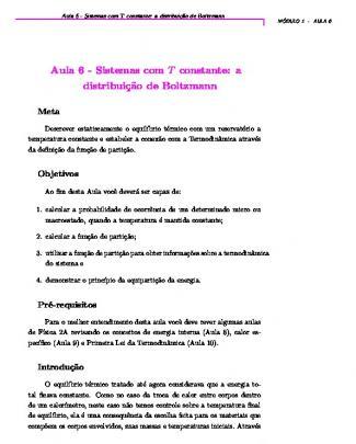 Cederj - Aula 06 - Física Estatística