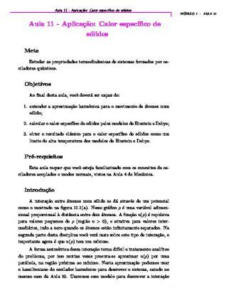 Cederj - Aula 11 - Física Estatística