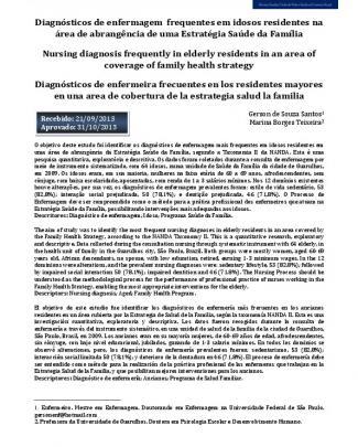 Diagnósticos De Enfermagem Frequentes Em Idosos Residentes Na área De...