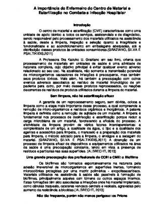 A Importância Do Enfermeiro Do Centro De Material E Esterilização No Combate A...