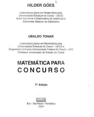 Hílder Goes E Ubaldo Tonar - Matemática Para Concurso - 7º Edição - Ano 2004