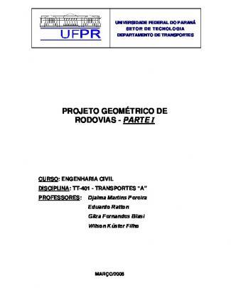 Projeto Geométrico De Rodovias - Ufpr