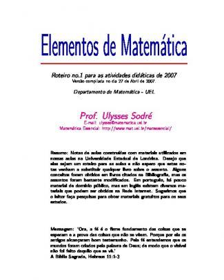 Elementos De Matemática - Lógica E Conjuntos