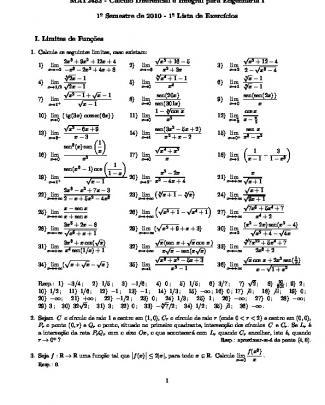 Lista Da Poli (usp) - Cálculo Diferencial E Integral 1 - 2010