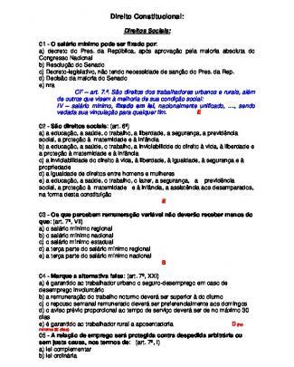 Exercicios De Direito Constitucional - Gabarito